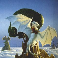 "Cover to ""The White Dragon,"" a book in the Dragonriders of Pern series by the late Anne McCaffrey. This is Jaxom, Lord of Ruatha, on his unique dragon, Ruth. Fantasy Books, Fantasy World, Fantasy Art, Dragon Knight, Dragon Rider, Magical Creatures, Fantasy Creatures, Dragonriders Of Pern, Anne Mccaffrey"
