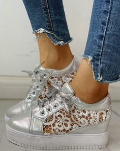 Solid Embroidery Breathable Lace-Up Sneakers – cuteshoeswear women sneakers outfit style women sneakers outfit swag women sneakers casual sty le shoes a walk to wear Yeezy Sneakers, Casual Sneakers, Sneakers Fashion, Casual Shoes, Fashion Shoes, Baskets Yeezy, Basket A Talon, Trend Fashion, Women's Fashion