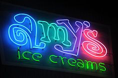 Amy's Ice Cream sign.    SXSW Interactive 2012. SXSWi in Austin TX.