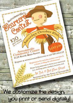 Scarecrow Fall / Autumn Festival ~ Community Contest Event ~ 5x7 Invite ~ 8.5x11 Flyer ~ 11x14 Poster ~ 300 dpi Digital Invitation by DitDitDigital on Etsy