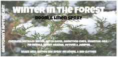 Winter in the Forest Odor Neutralizer Aromatherapy Spray wntr044 with Fir Needle, Sweet Orange, Vetiver, Juniper & Vanilla – Body spray & Air Neutralizer – Made with Fir Needle, Sweet Orange, Vetiver, Juniper & Vanilla.  This spray is AMAZING.  It really does smell like you are taking a walk in the forest with soft powdering snow on the ground and draped in the evergreen trees.  Test a small amount on the inside of your elbow before spraying it directly on your skin. Avoid If you have liver…