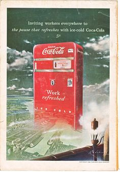 Coca Cola machine, this is a good source for vintage illustrations, ads, and paper ephemera. #vintage ad