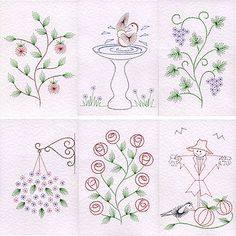 Value Pack No. 36: Garden at Stitching Cards - ePatterns for paper embroidery