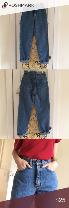 "Vintage High Waisted Medium Wash Lee Jeans Great fitting vintage high waisted jeans. Medium wash. They are in excellent condition; no rips or stains. The tag is marked as a ""7 medium"". Waist measurement: 27 inches. Hips: 37 inches. Inseam: 30 inches Lee Jeans Straight Leg"