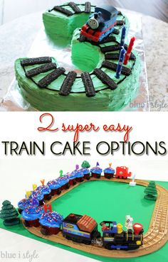 SUPER EASY! Two very easy alternatives for creating a train cake your kids will love. One is a Thomas the Train cake in the shape of their birthday number, and the other is a cupcake train.