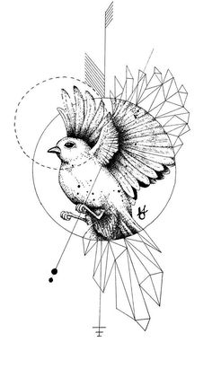 42 Ideas for tattoo geometric owl birds Geometric Tattoo Bird, Geometric Bird, Geometric Drawing, Tattoo Abstract, Hahn Tattoo, Tattoo Drawings, Body Art Tattoos, Crows Drawing, Tattoo Designs