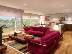 Beautiful contemporary Living room with pink comfortable sofa set and designer rug