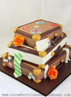 Stacked Suitcases Wedding Cake Cake by Strawberry Lane Cake Company - Luggage Cake, Suitcase Cake, Honeymoon Around The World, Lane Cake, Gold Cake, Cakes And More, How To Make Cake, Gingerbread, Wedding Cakes