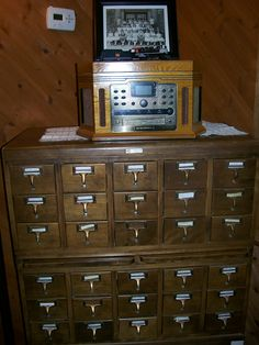 Len's old library cabinet houses his tape collection.