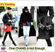 """One CHANEL is Not Enough.  Breaking the Bag Rules and Holding Two instead of One Bag """"Only For #CHANEL"""" is Trending at the Street Style of Spring Summer 2014 Paris Haute #Couture #bag"""