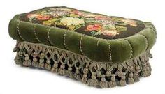 A VICTORIAN GREEN PLUSH AND NEEDLEWORK COVERED OTTOMAN, Ottoman Decor, Ottoman Footstool, Ottomans, Victorian Furniture, Antique Furniture, Cozy Chair, Home Decor Furniture, Victorian Homes, Soft Furnishings