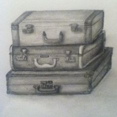 drawing of vintage suitcases by Mikayla Koski