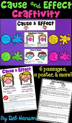 Cause and Effect worksheets and craftivity- this packet includes 6 reading passages, a poster, and more! When you use bubble gum to teach students about cause and effect, they will surely remember it! Designed for and grade students. Reading Comprehension Activities, Reading Passages, Reading Strategies, Reading Skills, Teaching Reading, Cause And Effect Activities, Common Core Curriculum, Authors Purpose, 4th Grade Reading