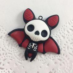 Skelebat  made this guy last week, really feeling that Halloween in July vibe  #polymer #clay #polymerclay #polymerclayart #polymerclaycharms #polymerclayartist #charm #diy #handmade #sculpey #bat #cute #kawaii #love #pastelgoth #creepycute #goth #halloween #spooky #halloweeniscoming #etsyshop #etsyseller