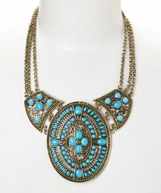 Love this Gold & Turquoise Filigree Bib Necklace on #zulily! #zulilyfinds