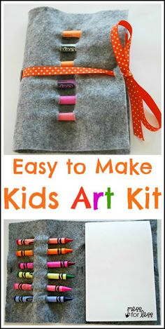 No Sew Crayon Roll - Kids Art Kit. This is great kit to take with you on the go. Your child can color while waiting at a restaurant or doctors office. Art Kits For Kids, Easy Art For Kids, Crafts For Kids, Christmas Shoebox, Christmas Gifts For Kids, Christmas Boxes, Kids Gifts, Creative Activities, Craft Activities
