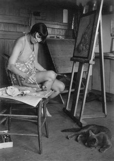 Wanda Hazel Gág (1893–1946) was an American artist, author, translator and illustrator, here pictured painting with cat in her art studio #workspace.