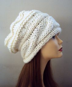 Chunky Knit Hat Slouchy Beanie Baggy Hat Ivory Fall Winter Hat by GrahamsBazaar