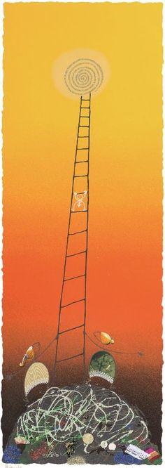 """MELONISKY DA VILLACIDRO """"VERSO IL SOLE"""" - serigrafia retouchè - 55 x 120 cm"""