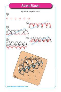 Spiral-Wave pattern by Nicole Dreyer | Zentangle