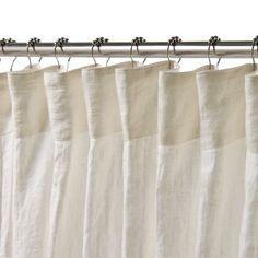 Beautiful White Linen Shower Curtain