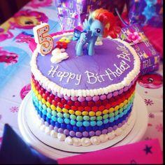 My Little Pony rainbow cake for B's birthday.