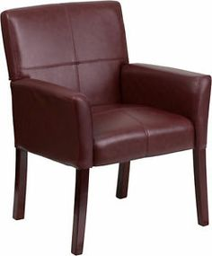 Lot of 6 Burgundy Leather Reception Guest Chairs with Mahogany Finish Legs