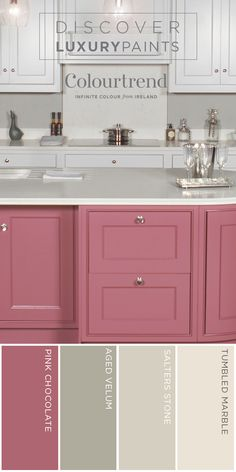 Use colour to bring your kitchen to life! These units are painted in the Salter Stone, with the Pink Chocolate island creating a real statement and focal point. Both colours are from the Colourtrend Historic Colour Collection in Colourtrend Satin finish.  This warm yet opulent scheme when partnered with Aged Vellum on the walls creates a cosy space: perfect for afternoon tea, for dining, for family. Have some fun with the space by using a mix of modern, classic and cottage-inspired…