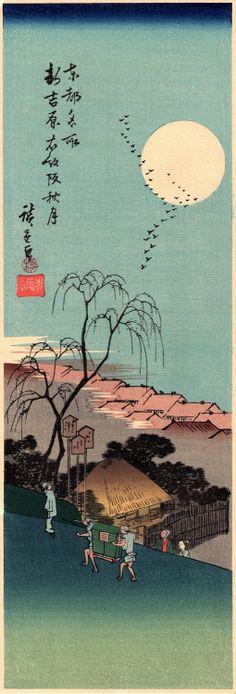 Japanese Ukiyo-e Woodblock print Ando Hiroshige  Autumn...