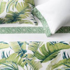 Tropical Leaf Bedding, Green   Williams Sonoma