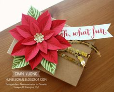 Christmas gift packaging made with the Reason For The Season stamp set and Festive Flower Builder punch from Stampin' Up! - Made by Chan Vuong