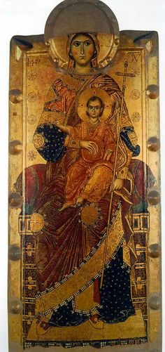 Virgin on the throne with Flumine, 13 in., Naples, Museum of Capodimonte Religious Images, Religious Icons, Religious Art, Byzantine Icons, Byzantine Art, Russian Icons, Russian Art, Images Of Mary, Masonic Symbols