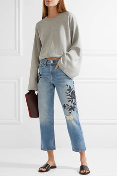 rag & bone | Marilyn embroidered distressed mid-rise straight-leg jeans | NET-A-PORTER.COM