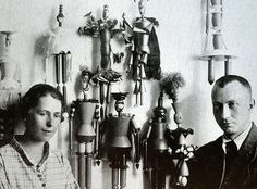 "Sophie Taeuber and Jean (Hans) Arp with the marionettes she designed for the opera ""König Hirsch"" (The Stag King), Zurich, 1918 Jean Arp, Tristan Tzara, Dada Artists, Dutch Artists, Kurt Schwitters, Joan Miro, Arp Museum, Sophie Taeuber Arp, Dada Movement"