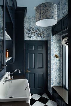 The Laundry Room: Reveal - The Makerista Delft Shoes Blue and White Small Laundry Rooms, Laundry Room Design, Classic Wallpaper, Laundry Room Inspiration, Colored Ceiling, Blue Cabinets, Rustic Room, Laundry Room Organization, Mudroom