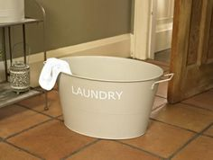 Shabby Chic Baskets and Tins   French Grey Tin Laundry Basket