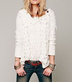 FREE PEOPLE $168 Cable Knit Sweater Poncho Bohemian Long Sleeve Pullover XS EUC #FreePeople #TurtleneckMock #Casual