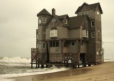 When the house was first built in the 1980s, there was over 400 feet of sand separating it from the Atlantic, with piles set in concrete 14 ...