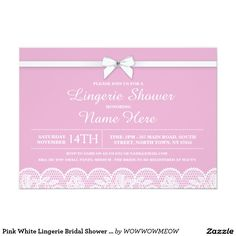 Pink White Lingerie Bridal Shower Lace Invitation