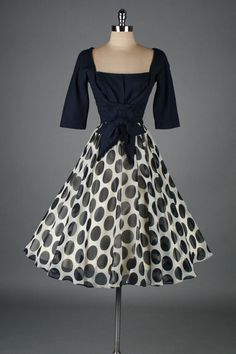 vintage 1950s dress . blue and white polka by millstreetvintage
