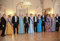 From left, former President of Finland, Martti Ahtisaari, Queen Sonja of Norway, King Harald V of Norway, Queen Margrethe of Denmark, President of Finland Sauli Niinistö, his wife Jenni Haukio, King Carl XVI Gustaf of Sweden, Queen Silvia of Sweden, President of Iceland Gudni Thorlacius Johannesson, his wife Eliza Jean Reid, former President of Finland Tarja Halonen and her husband Pentti Arajärvi attend a dinner celebrating the centenary of Finland's independence.