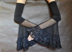 Lovely GOTHIC ELEGANT evening mistical gloves made of black high quality elastic fabric and tulle. Finished with laceand rubber-lace with attention to details. Gloves are very effective! Perfect for special events.  Handmade in Poland, not in China :) Gloves are made in one size and match best size medium. If You need another size, contact me (give me You measurements - girth of arm) and I will do special order for You.  Find me on Facebook :) https://www.facebook.com/sophieand...