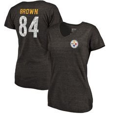 Antonio Brown Pittsburgh Steelers NFL Pro Line by Fanatics Branded Women's Icon Tri-Blend Player Name & Number V-Neck T-Shirt - Black - $37.99