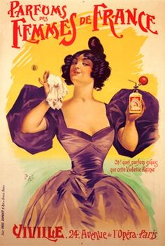 Parfums des Femmes de France by PAL 1898 France - Vintage Poster Reproductions. This vertical french product poster features a woman in a formal purple dress holding up her handkerchief and bottle of perfume. Giclee Advertising Print. Classic Posters