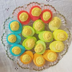 dying deviled eggs - cute for Easter or a shower