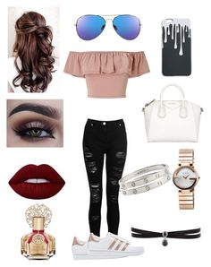 """Stop ✋,dont talk to me💁"" by saraalhussain-ksa on Polyvore featuring Miss Selfridge, adidas Originals, Givenchy, Gucci, Cartier, Fallon, Lime Crime and Vince Camuto"