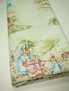Beatrix Potter Scenic Fabric On White Tom Kitten Peter
