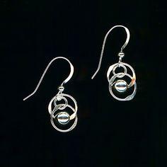 Dangle Beaded Sterling Silver Earrings, Wire Circle Earrings, Beaded Hoop Hammered Wire Jewelry Beaded Chainmaille Earrings