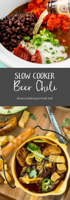 Slow Cooker Beer Chili Slow Cooker Chili, Crock Pot Slow Cooker, Crock Pot Cooking, Crockpot Dishes, Crockpot Recipes, Recipe Using Chicken, Potted Beef Recipe, Chowder Recipes, Chili Recipes