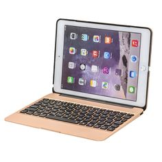 "Bluetooth Keyboard for iPad Air 2 - Gold- Designed for use with Apple iPad Air 2, this Bluetooth 3.0 Keyboard case features a Bluetooth keyboard with IOS shortcuts, ensuring you remain productive while on the move. Reading and typing positions offer ergonomic viewing angles.Compatible with iPad Air 2 / iPad Air and other 9.7"" iPad. Full metal cover provides protection for your device and the keyboard. Bluetooth keyboard with IOS shortcuts offers enhanced control over your device"